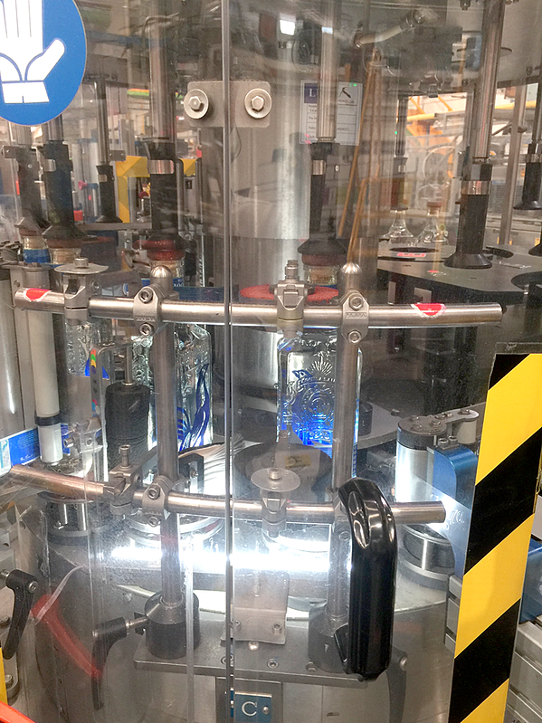 Bottle components in the production line at Casa Sauza