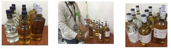 Muestreo de tequila en Casa Sauza botellas en fases