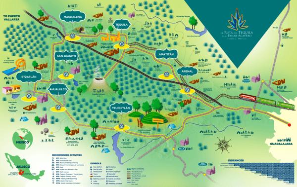 mapa tequila Jalisco y cercanías
