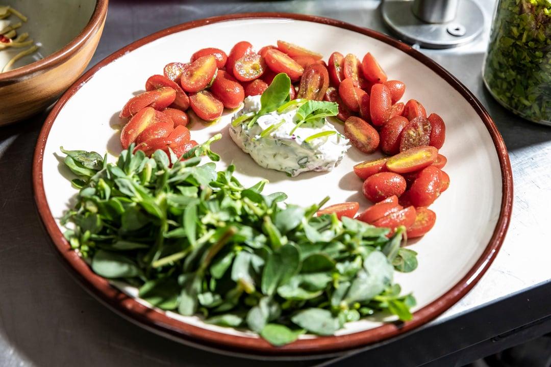 platillo tomates, queso ingredientes frescos